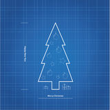 Vector blueprint Christmas tree. Stock Photos