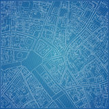 Vector blueprint with city topography.  Royalty Free Stock Photo