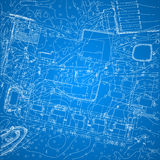 Vector blueprint with city topography. Vector illustration Royalty Free Stock Photography