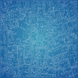 Vector blueprint with city topography. Vector illustration Stock Photography