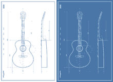 Vector Blueprint with Electric and Acoustic Guitar Royalty Free Stock Photography