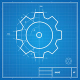 Vector blueprint gear card Royalty Free Stock Photos