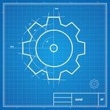 Vector blueprint gear card Royalty Free Stock Photos