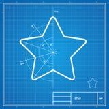 Vector blueprint  star card Stock Image