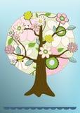 Vector Blumenbaumkarte Stockfoto