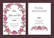 Vector Blumenhochzeitseinladungskarte mit Rahmen von rosa Rosen Lizenzfreie Stockbilder