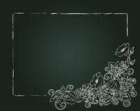 Vector Blumenkarte, Kreideblumen und Blätter stock abbildung