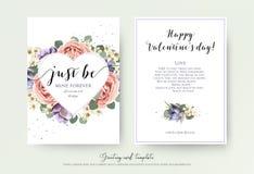 Vector Blumenkartendesign mit Aquarelllavendel-Gartenrosa r stock abbildung