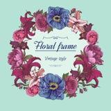 Vector Blumenkranz von verschiedenen Blumen in der Weinleseart Stockfoto