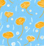 Vector Blumenmuster in der Gekritzelart mit Blumen und Blättern Mildern Sie, entspringen Sie Blumenhintergrund vektor abbildung