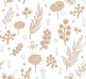 Vector Blumenmuster in der Gekritzelart mit Blumen und Blättern Mildern Sie, entspringen Sie Blumenhintergrund lizenzfreie abbildung