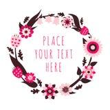 Vector Blumenrahmen in den hellrosa, rosa und braunen Farben Lizenzfreie Stockbilder