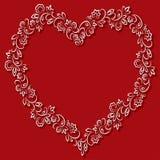 Vector Blumenrahmen in Form der Herzen auf einem roten Hintergrund Stockfotos