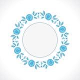 Vector Blumenrahmen mit blauen Pfingstrosen und Blättern Stockfoto