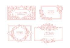 Vector Blumenrahmen mit Kopienraum für Text in der modischen Monolinie Lizenzfreies Stockbild