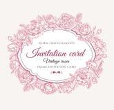 Vector Blumenrahmen mit Rosen in der Weinleseart Einladungskarte _1 Lizenzfreie Stockfotos