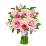 Vector Blumenstrauß von Rosen, von lila Blumen und von Efeublättern Lizenzfreie Stockfotografie