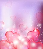 Vector blur background with hearts and sparks. Stock Image
