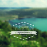 Vector blure landscape with hipster badge. Lake view. Stock Images