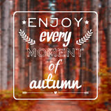Vector blurred autumn landscape background with motivational phrase Royalty Free Stock Images