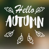 Vector blurred autumn landscape background. With typography text `Hello Autumn vector illustration