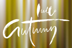 Vector blurred autumn landscape background with typography text. Hello Autumn. Royalty Free Stock Image
