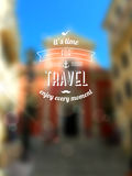 Vector blurred background. City blur unfocused background, design template. Travel typographic label Stock Photography