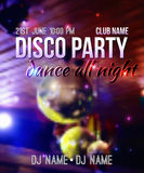 Vector blurred background with disco ball and lights. Night party template with place for text. Can be used as poster or invitation Vector Illustration