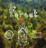 Vector blurred background with forest, hut, wood, firewood Stock Images