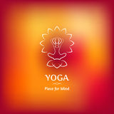 Vector blurred background with image yoga in the Lotus position. Stock Images