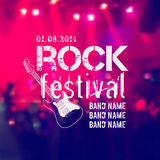 Vector blurred background with rock stage and crowd. Rock festival design template with guitar and place for text Stock Photos