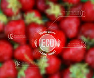 Vector blurred background with strawberry and eco label stock illustration