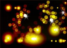 Vector blurred bright background. Golden light bokeh abstract black background.  stock illustration