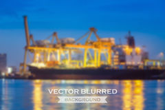 Vector blurred. Of cargo ship and crane at twilight Stock Photo