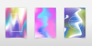 Vector blurred holographic backgrounds set. Chrome holographic t. Emplates. holographic rainbow foil abstract background. colorful bright blurry backdrop vector illustration