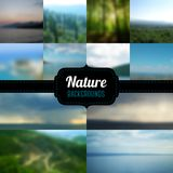 Vector blurred landscape with retro badge. Royalty Free Stock Images