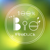 Vector blurred nature background with eco label of. BIO product. Eco products, organic standard, or premium quality green product stock illustration
