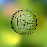 Vector blurred nature background with eco label of Royalty Free Stock Image