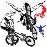 Vector BMX Bikers Royalty Free Stock Photo