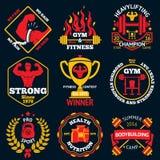 Vector Bodybuilding bright labels set - strong man,barbell, dumbbell, laurel, goblet etc. vector illustration