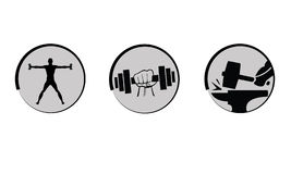 Vector bodybuilding, strength icons set. Vector bodybuilding, strength icons sets stock illustration