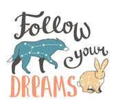 Vector boho print with animals, stars and hand writing phrase - Follow your dreams. Vector fashion design. Royalty Free Stock Photos