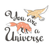 Vector boho print with animals, stars and hand writing phrase - You are Universe. Vector fashion design. Stock Image