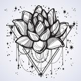 Vector boho style outline trendy illustration isolated. Lotus flower on sacred geometry and a scattering of stars. Tattoo art. vector illustration