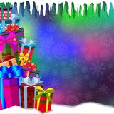 Vector bokeh glowing background with heap of gifts standing on s. Now and falling snow flakes. Vector illustration, border, template with space for text Stock Photography