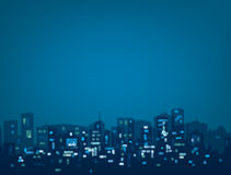 Vector bokeh night city background. Vector bokeh night city background in blue colors Stock Photo