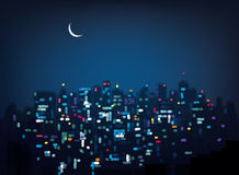 Vector bokeh night city background. Background is my creative handdrawing and you can use it for city design and etc, made in vector, Adobe Illustrator 10 EPS Royalty Free Stock Images