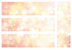 Vector bokeh, sparkle banners. Vector pink and yellow colors, bokeh, sparkle banners Stock Photography