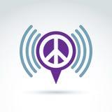 Vector a bolha do discurso com símbolo de paz do 60th Sinal o do Podcast Foto de Stock Royalty Free