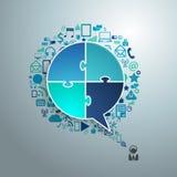 Vector a bolha do discurso do negócio da tecnologia dos ícones da aplicação ilustração do vetor